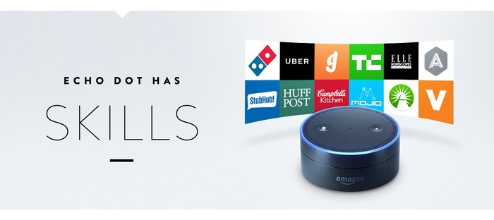 """Ad for Amazon Echo Dot, which reads """"Echo Dot Has Skills,"""" surrounded by several company logos."""