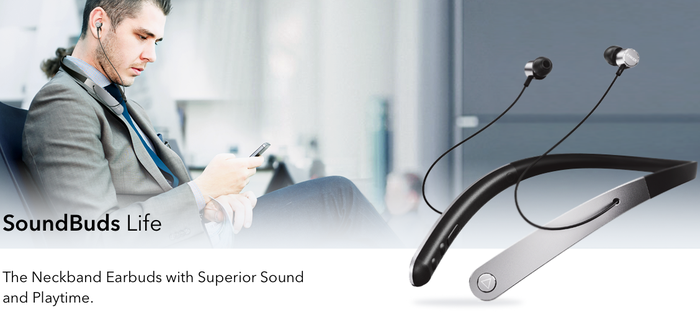 "An ad for Anker SoundBuds, showing a man using them above the caption ""The Neckband Earbuds With Superior Sound and Playtime."""