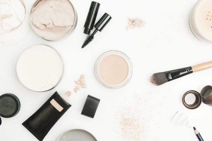 Beauty supplies spread out on a table