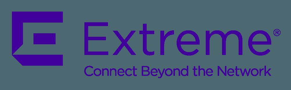 Extreme Networks' logo, purple on white.