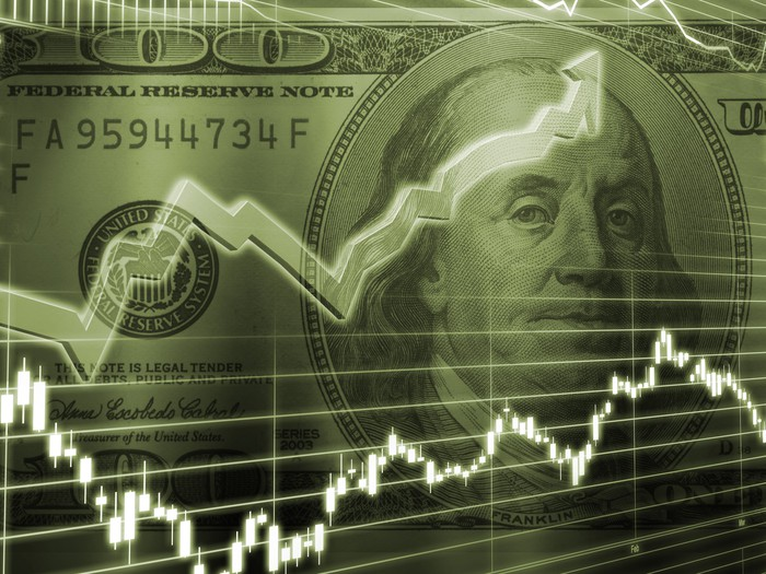 Ben Franklin on $100 bill with overlaid arrows trending upward.
