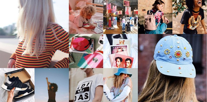A collage of Urban Outfitters products, including shirts, hats, and shoes