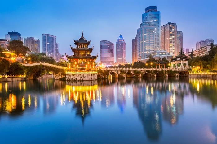 Cityscape of Guiyang, China at night.
