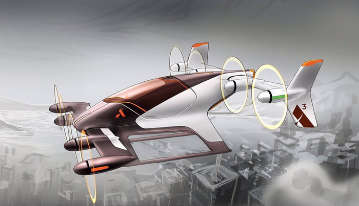 Rendering of Airbus' autonomous air taxi flying over a city by the water -- most likely the San Francisco Bay Area.