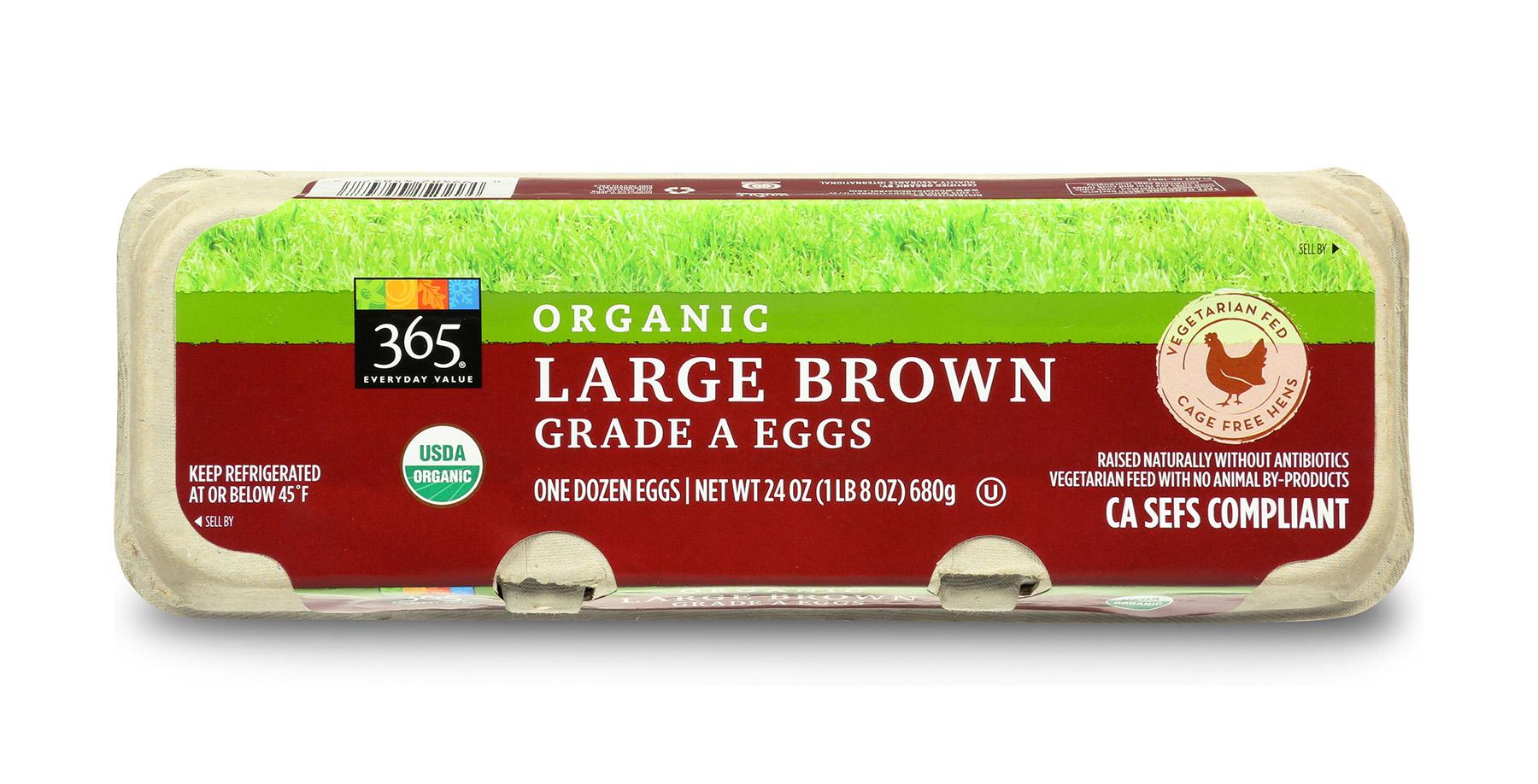 Carton of organic large brown Grade A eggs.