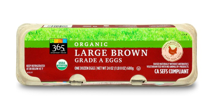 Carton of organic large brown Grade A eggs.