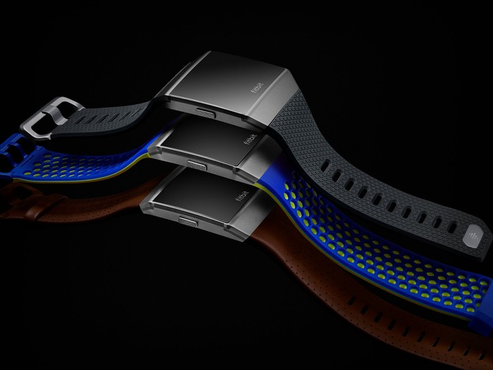 Three Ionic smartwatches with different color configurations