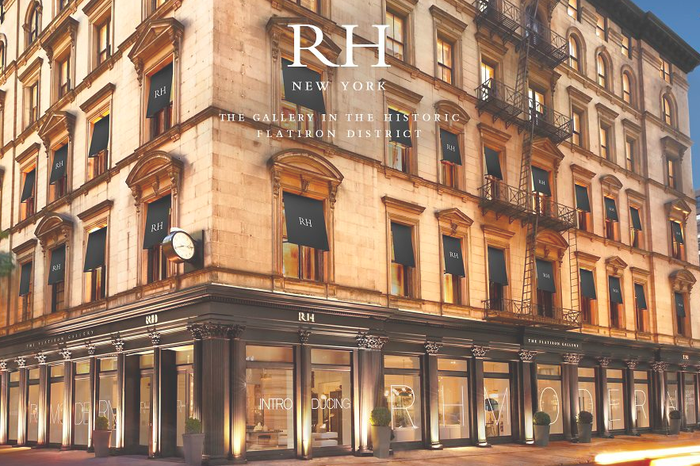 """A design gallery with """"RH New York"""" and """"The gallery in the historic Flatiron District"""" written across it."""