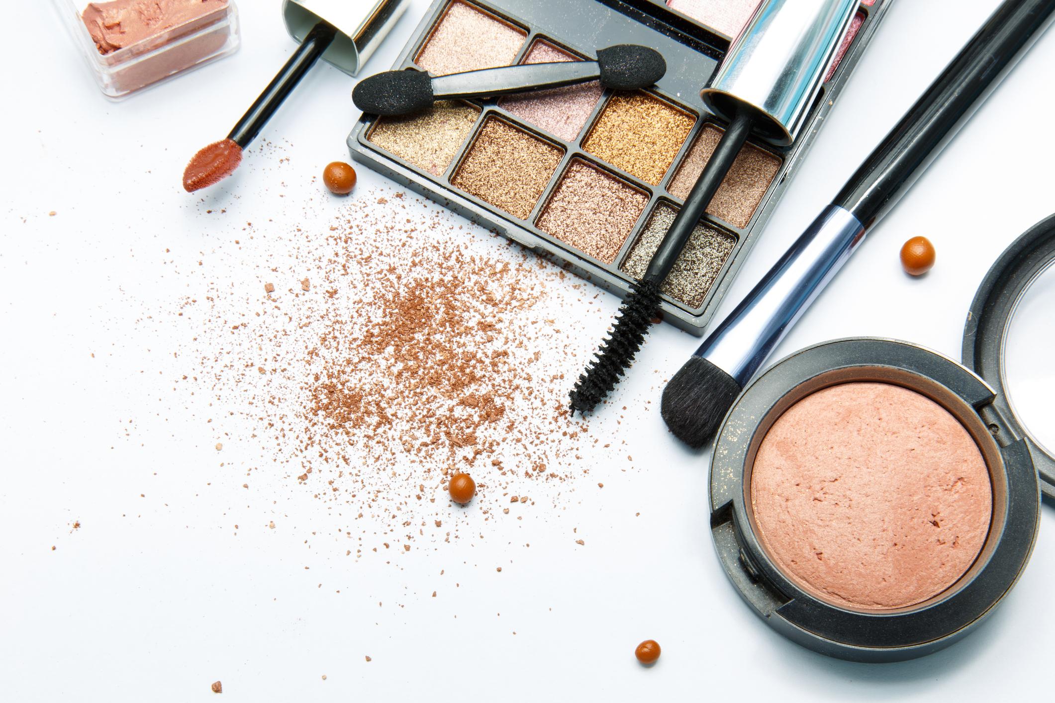 Image shows an assortment of open makeup.