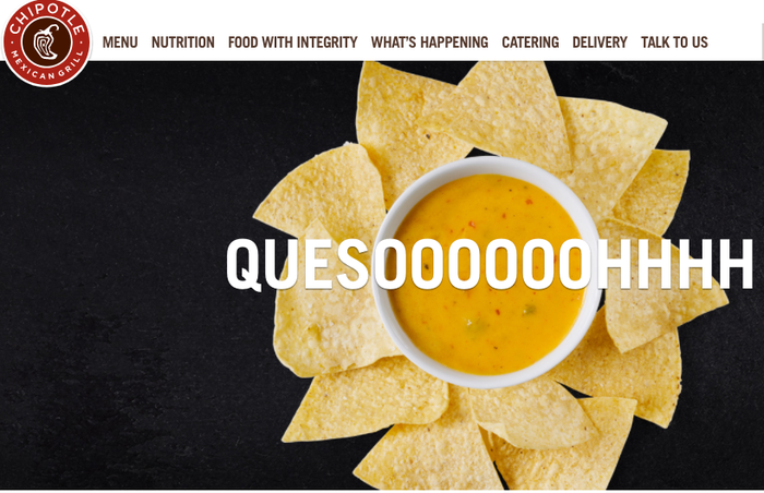 A screenshot of Chipotle's website featuring queso and chips.