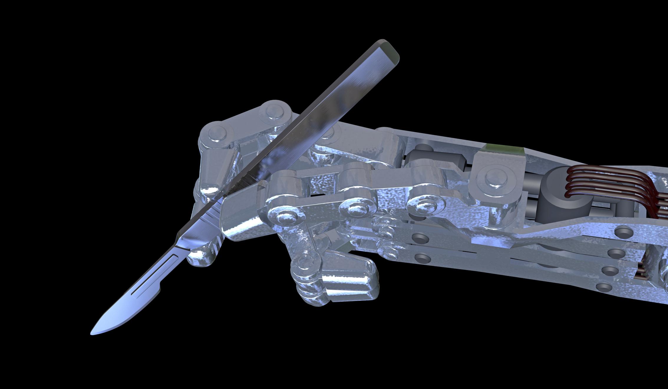 Robotic hand holding a scalpel.