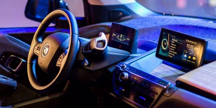 A cockpit of a BMW car.