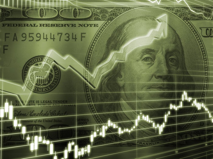 Charts in front of $100 bill