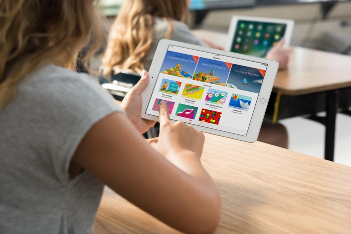 A student using an iPad.