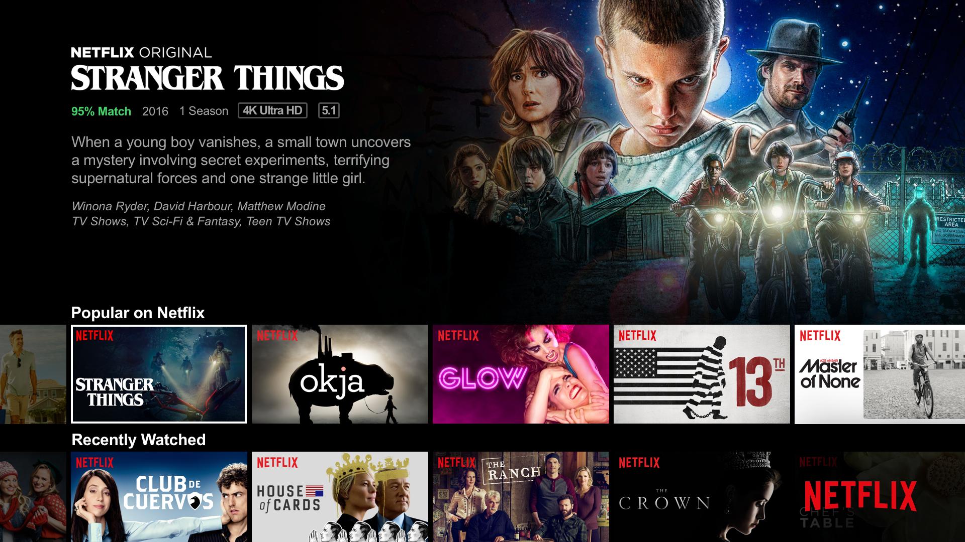 A screenshot of the Netflix home screen featuring their original TV show, Stranger Things.