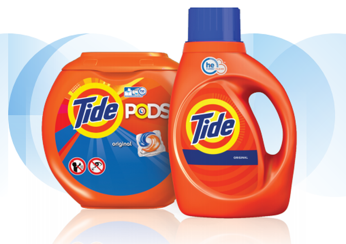 A Tide detergent bottle and canister of Tide Pods.