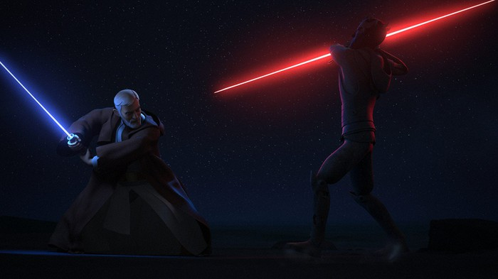Two Star Wars movie characters fighting with light sabers.