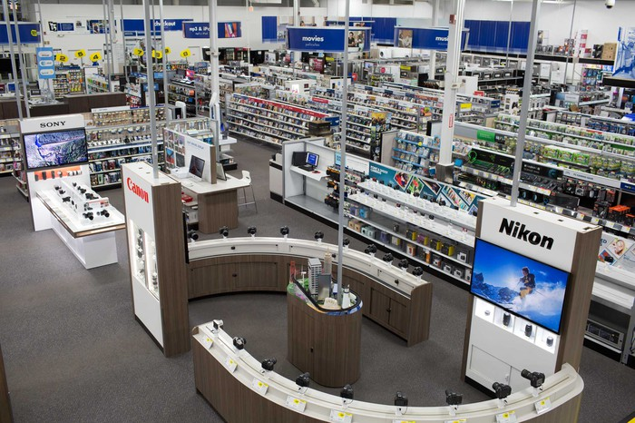 The interior of a Best Buy store, displaying video games, television sets, and other electronics.