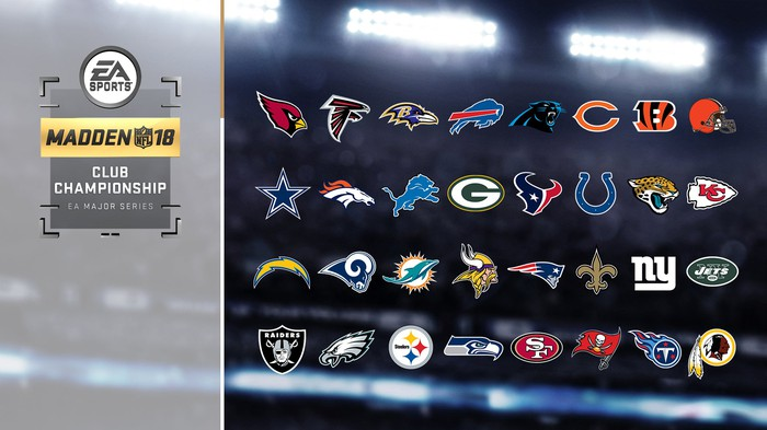 The logos of all 32 NLF teams with the Madden NFL 18 Club Championship logo on the left side.