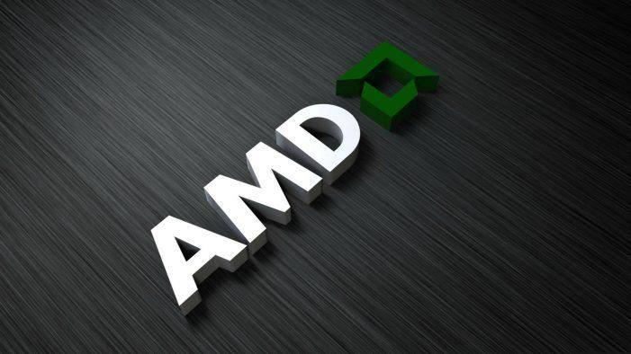 AMD logo on a gray background