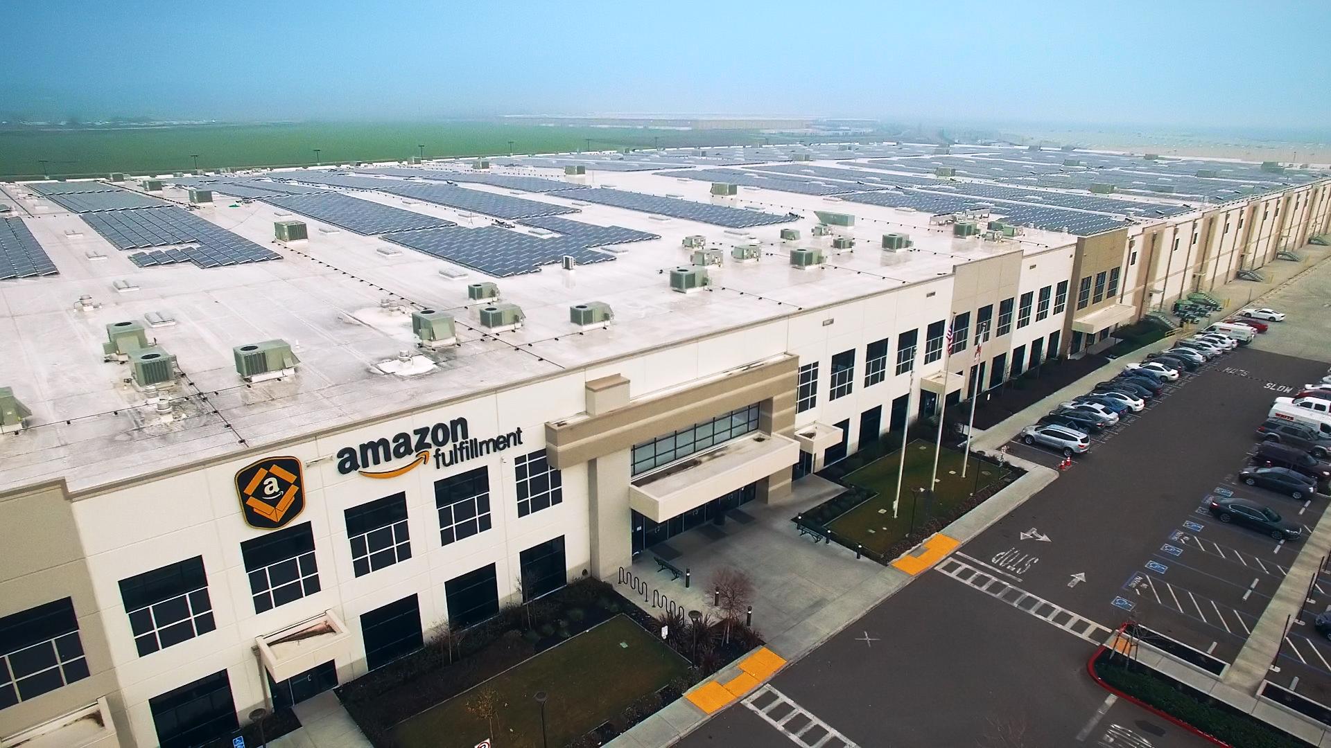 Aerial shot of an Amazon fulfillment center.