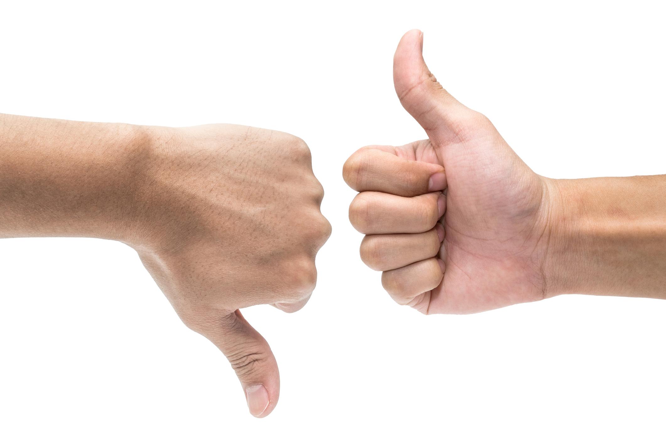 Thumb down and thumb up