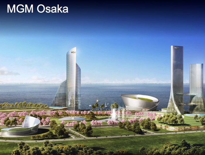 Rendering of an MGM resort in Osaka with two large hotel towers and lush landscaping.