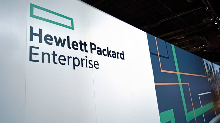 HPE logo on a wall