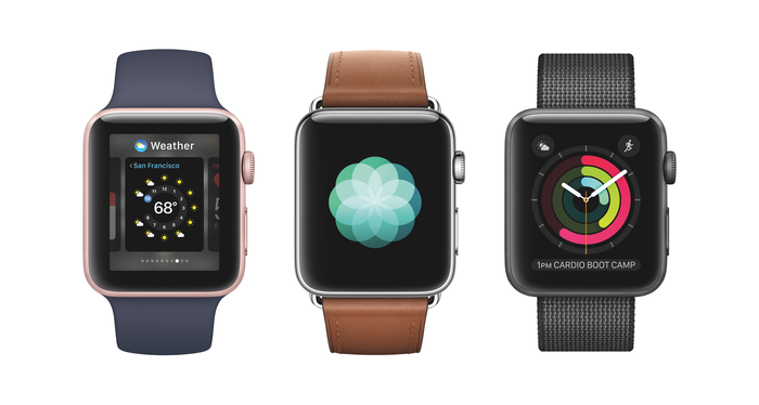 Three Apple Watches side by side
