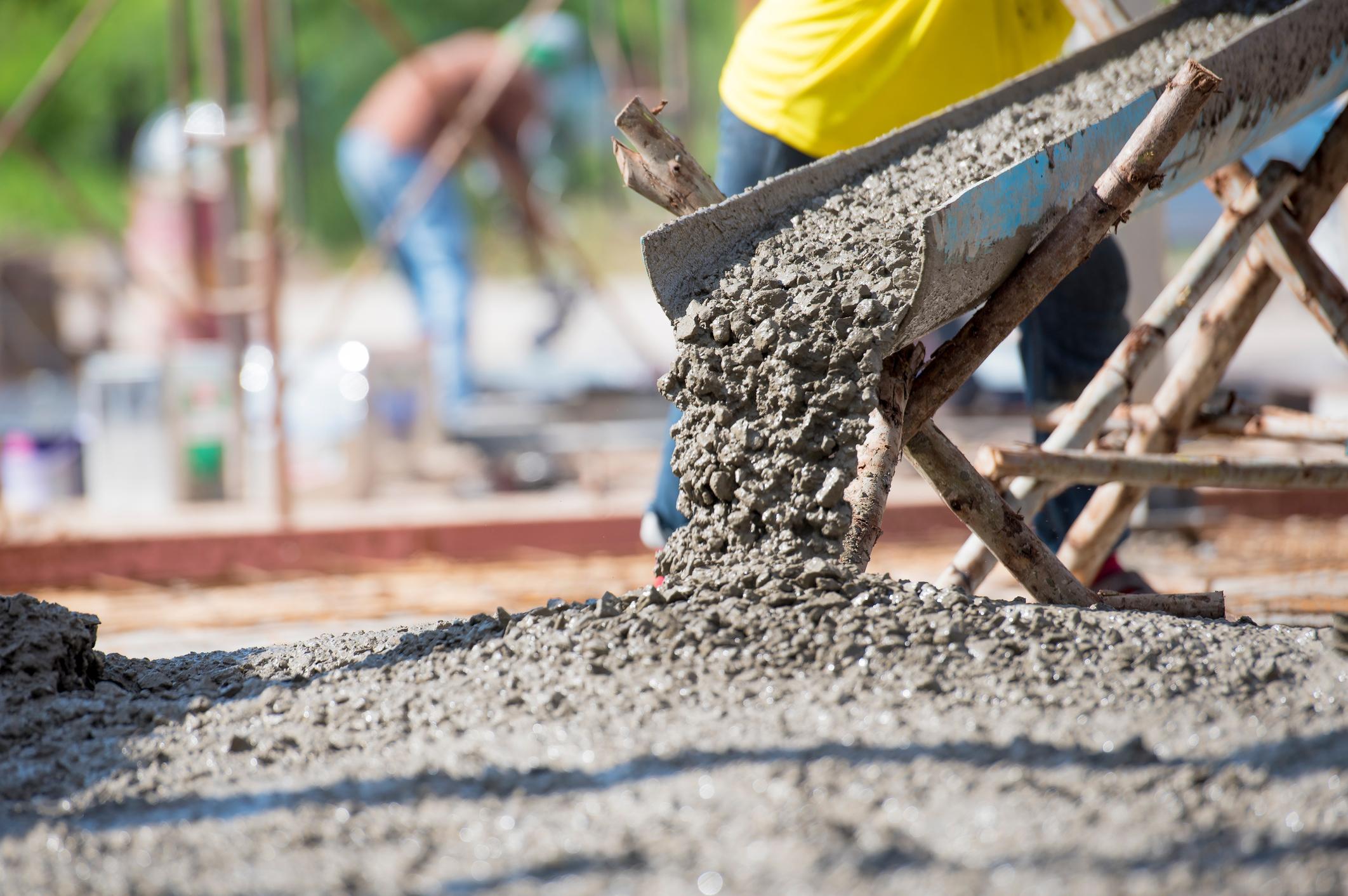 Pouring ready mix concrete