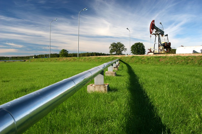An oil pipeline with an oil pump.