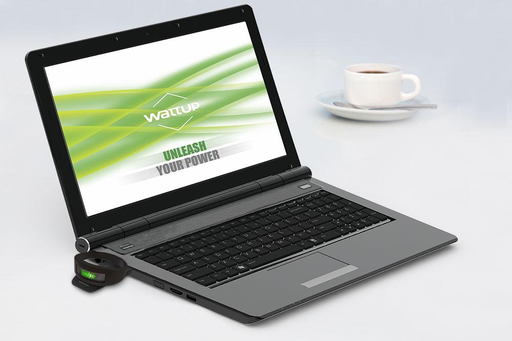 A WattUp Near Field transmitter plugged into a laptop.