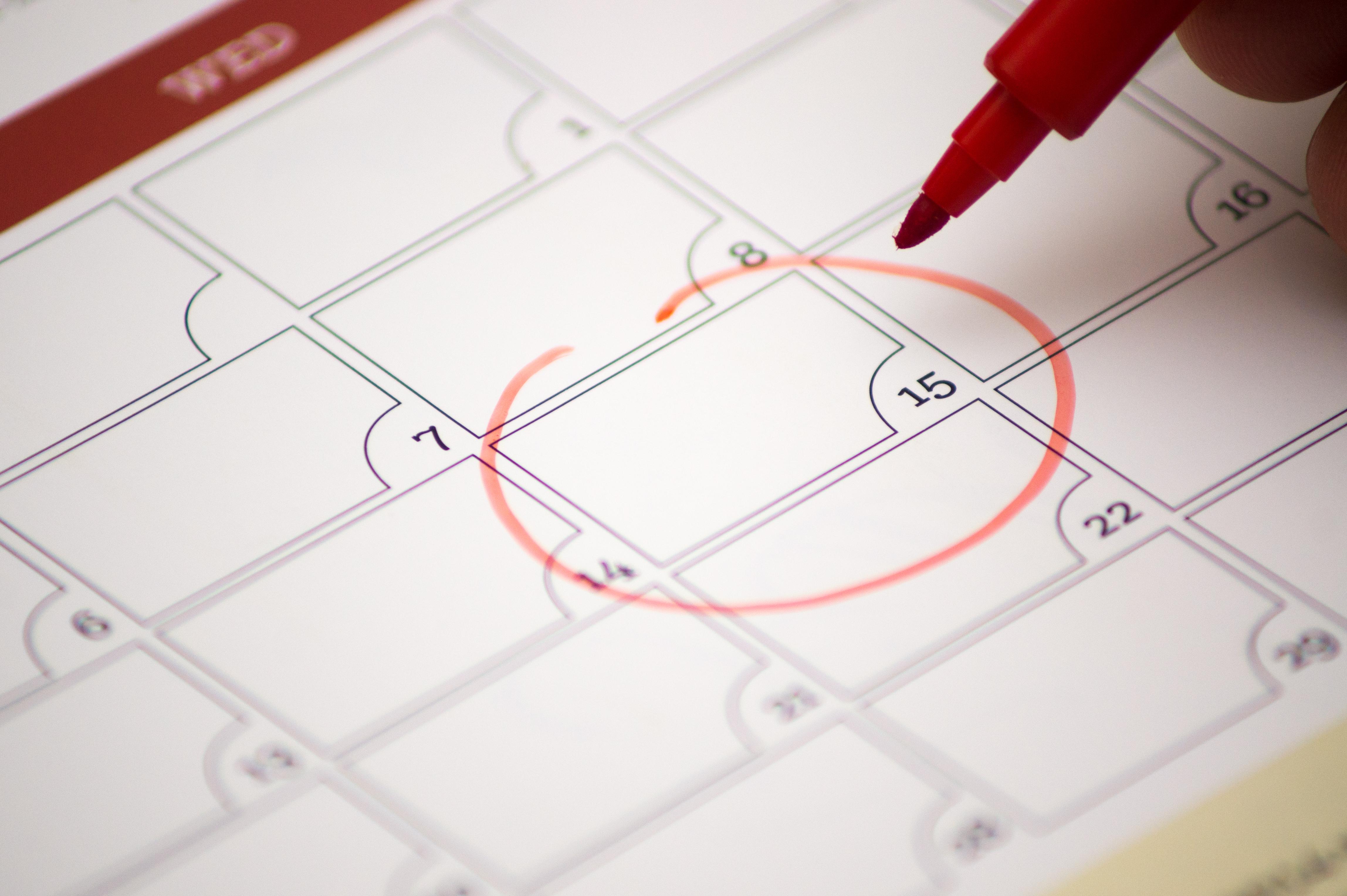 Calendar date circled in red