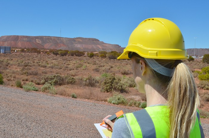 A woman looking out over a field with a paper and highlighter