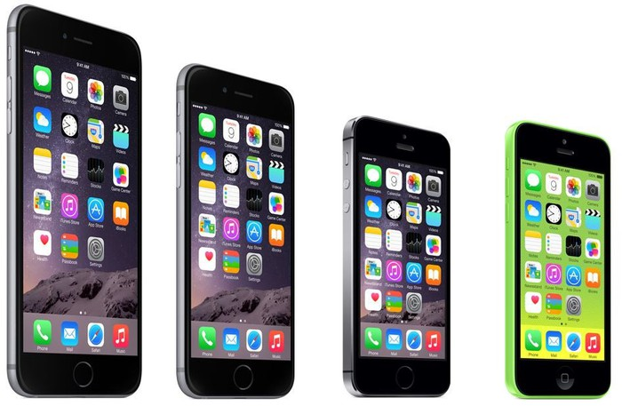 The iPhone 6 Plus, iPhone 6, iPhone 5s, and iPhone 5c side by side