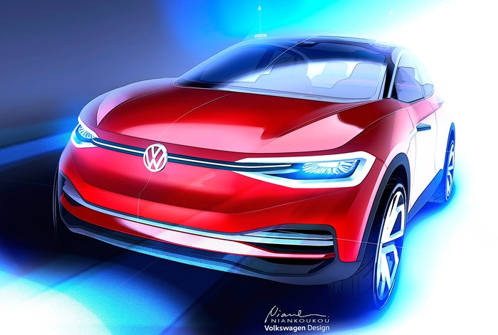 An artist's rendering of a small red VW crossover, shown from the front.