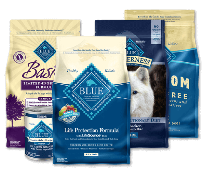 A selection of Blue Buffalo pet foods