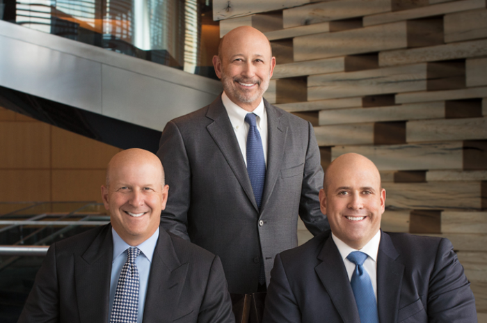Goldman Sachs chairman and CEO Lloyd Blankfein (center) with the investment bank's co-presidents David Solomon (left) and Harvey M. Schwartz (right).