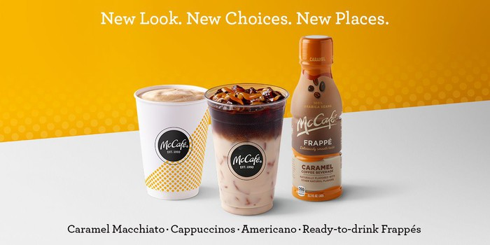 McDonald's new caramel macchiato, cappuccino, and ready-to-drink frappe.