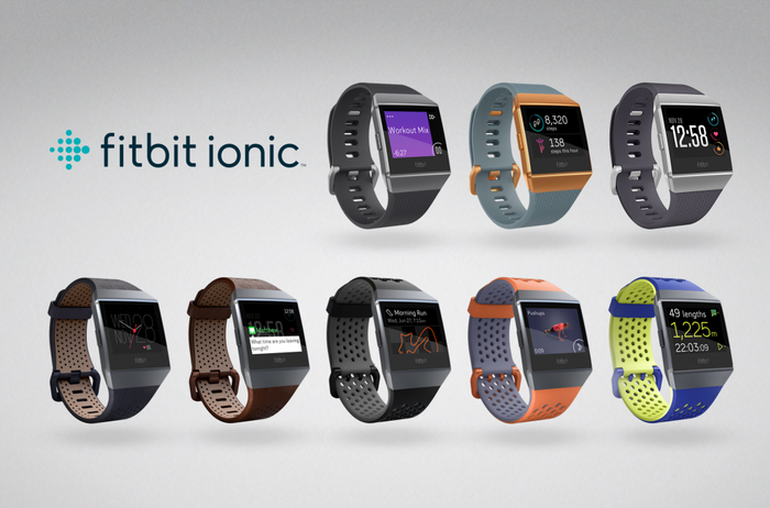 Fitbit's Ionic smartwatch with different bands and watch faces.