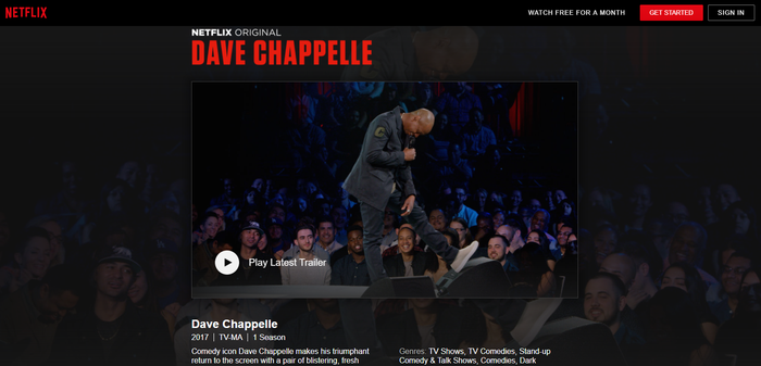 Netflix page for Dave Chappelle comedy special.