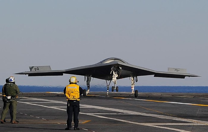 X-47B drone on carrier deck