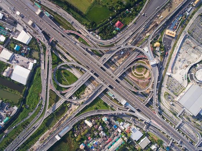 A major highway interchange as seen from a bird's-eye view.