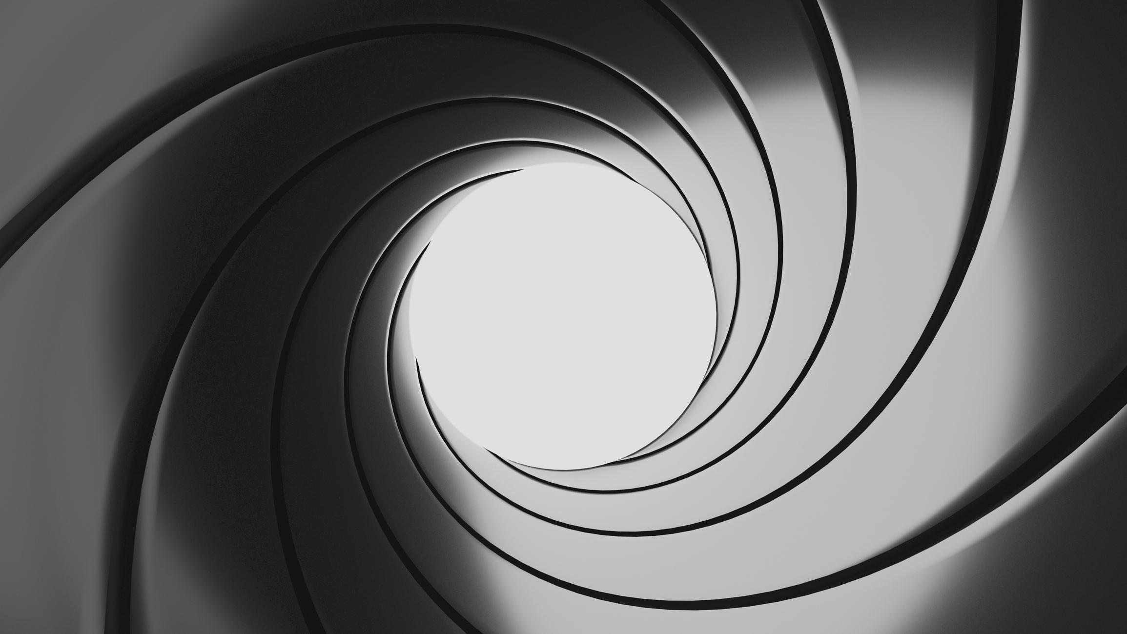 A view down a gun barrel - a classic James Bond 007 theme.