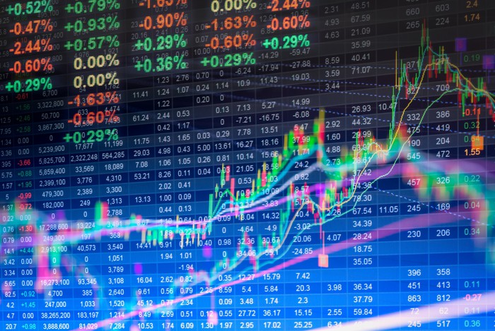 Colorful stock market prices and charts overlaying an LED display