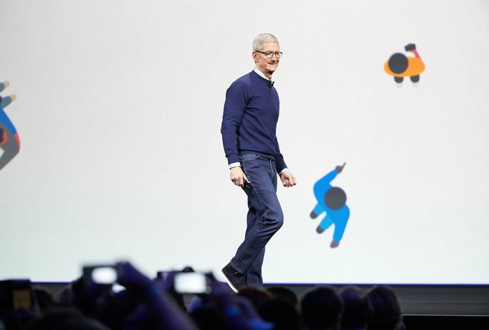 Apple CEO Tim Cook speaking onstage at WWDC 2017.
