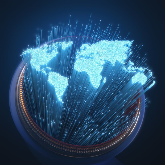 Concept art of the fiber optic Internet connecting the world.