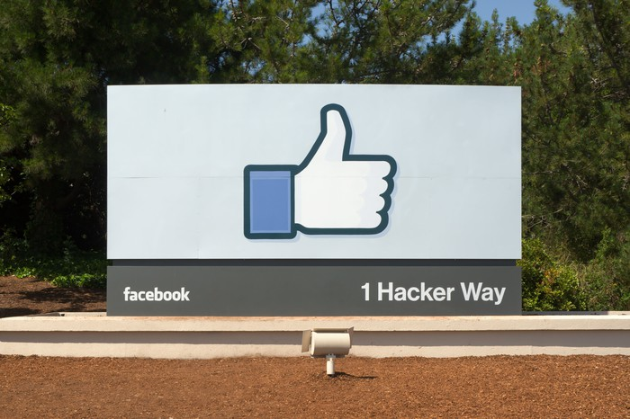 Facebook's sign at its 1 Hacker Way headquarters.