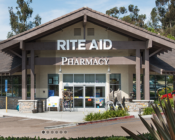 Exterior view of the front of a Rite Aid pharmacy building/occupancy.