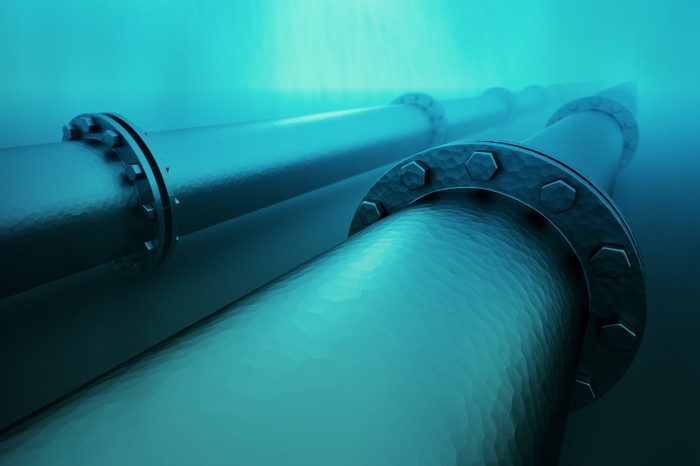 Graphic of offshore underwater oil pipes.